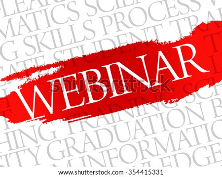 WEBINAR Word cloud education concept background - stock photo