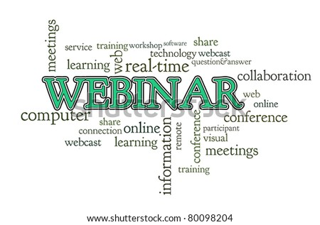 Webinar word cloud on white background isolated - stock photo