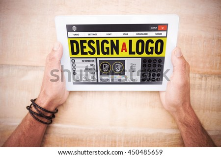 Webpage for create a logo against hands holding blank screen tablet - stock photo