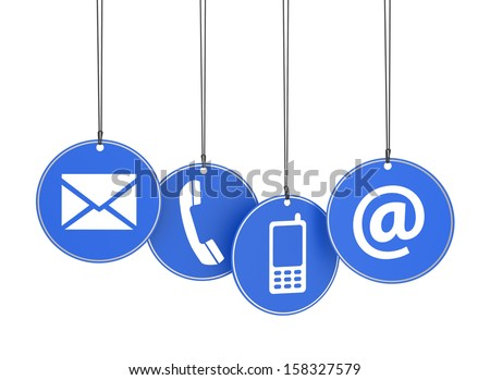 Website and Internet contact us page concept with icons on four blue hanged tags on white background. - stock photo