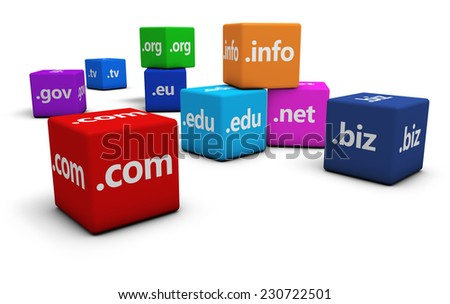 Website and Internet domain names concept with domains sign and text on colorful cubes isolated on white background. - stock photo