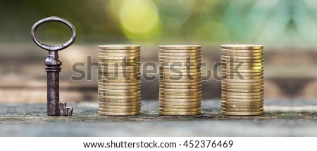 Website banner of gold money coins and a key - money concept