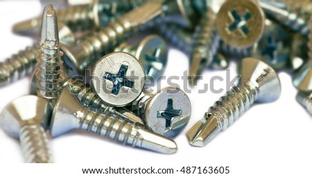 Website banner of screws on a white background