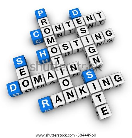 website  (blue-white cubes crossword series) - stock photo