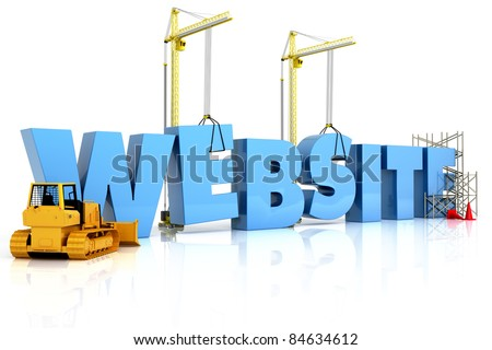 Website building , under construction or repair isolated on a white background - stock photo