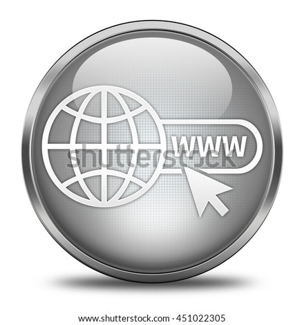 Website button isolated on white background. 3d render