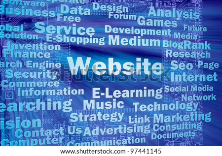 Website concept in blue virtaul space with internet related words - stock photo