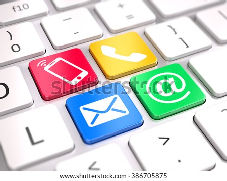 Website contact us concept  - contact buttons on computer keyboard - stock photo