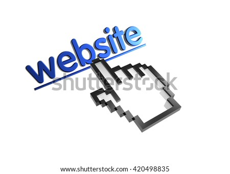 website. 3d rendered inscription. Link and finger, pointer. Isolated on white - stock photo