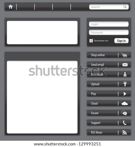 Website design dark gray elements and modules - stock photo