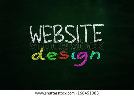 Website Design Lettering, written with Color Chalk on Blackboard - stock photo
