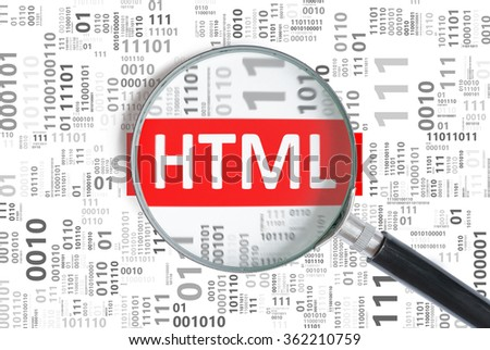 Website development and web design concept. HTML programming language inside magnifying glass in binary code.