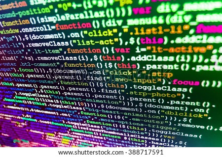 Website development.  Computer script.  Software source code. Programmer occupation. Website programming code. (Code is my own property there is no risk of copyright violations) - stock photo
