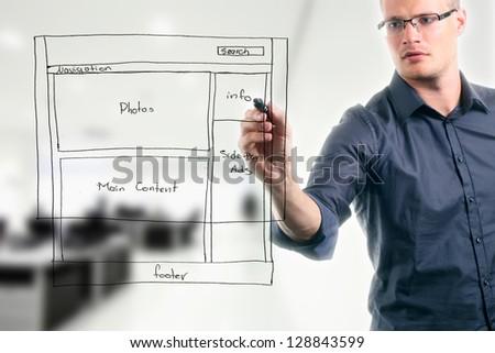 website development wireframe - stock photo