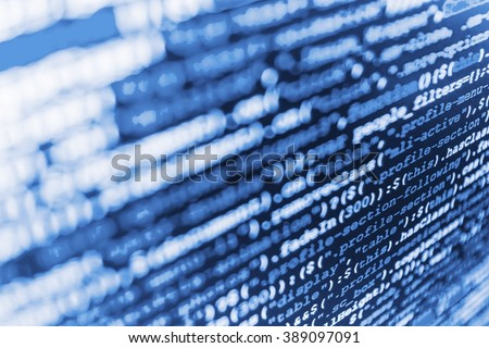 Website development. Writing programming code on laptop. Programmer occupation.  Web site codes on computer monitor. (Code is my own property there is no risk of copyright violations) - stock photo
