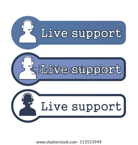 """Website Element: """"Live Support"""" on White Background. - stock photo"""