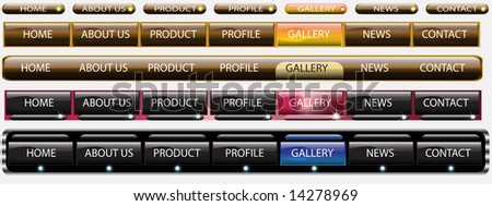 Website glass button bars template black and gold - stock photo