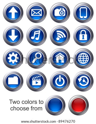 Website icons Set 2 -  upload, download, restore, backup and save computer files and cloud, search, digital media - Raster Version - stock photo
