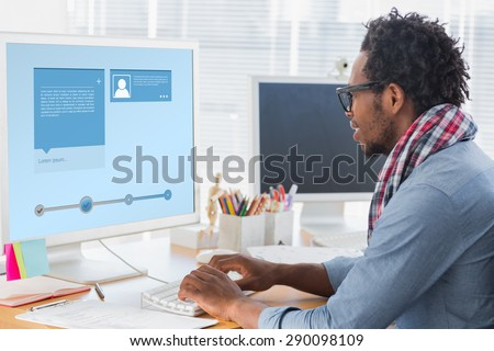 Website interface against creative business worker on computer - stock photo