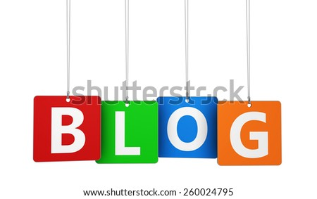 Website, Internet and blog concept with blog word and sign on colorful hanged tags isolated on white background. - stock photo