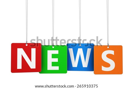 Website, Internet and blog concept with news word and sign on colorful hanged tags isolated on white background. - stock photo