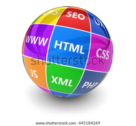 Website, Internet and digital media development concept with programming languages sign on a colorful globe 3d illustration on white background. - stock photo