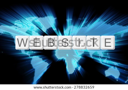 website keyboard button with world background. - stock photo