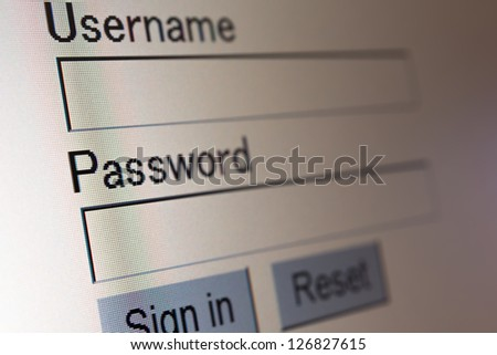 Website login password screen