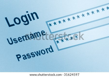 Website Login Screen Macro Capture, password username internet web security - stock photo