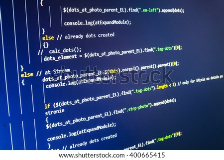 Website programming code. Programmer occupation. Developer working on program codes in office. Developer working on websites codes in office. Programmer workplace.