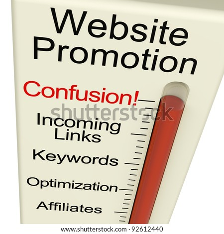Website Promotion Confusion Shows Online SEO Strategies And Development - stock photo