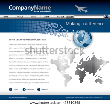 Website template with a jet, globe and map