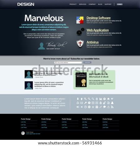 Website Web Design Elements Dark Template - stock photo