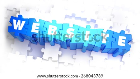 Website - White Word on Blue Puzzles on White Background. 3D Illustration. - stock photo