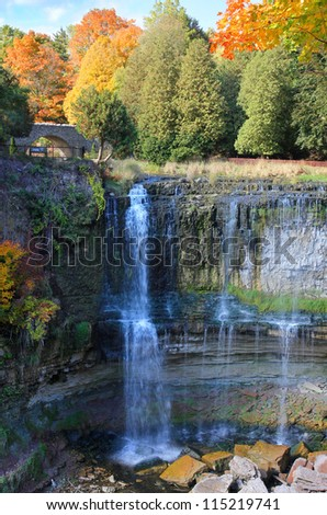 Webster's Falls in Hamilton, Ontario autumn scene, Canada. - stock photo