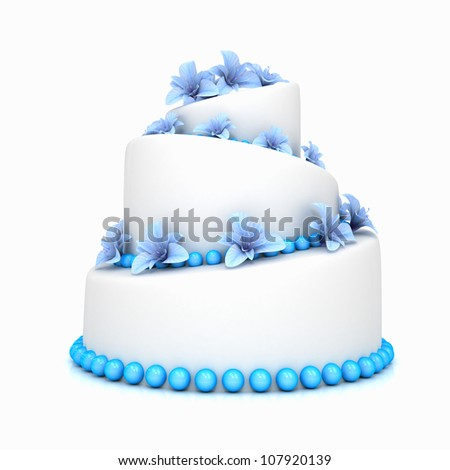 Weddind cake with flowers over white. Computer generated image - stock photo