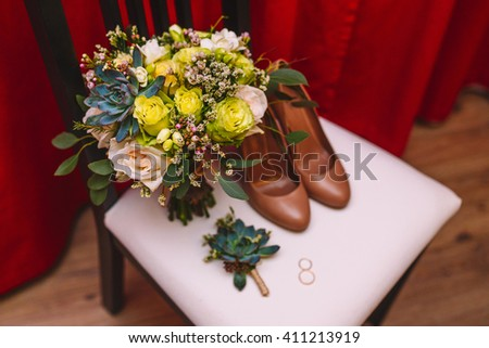 Wedding accessories. Bridesmaid shoes, wedding bouquet, wedding rings, boutonniere - stock photo
