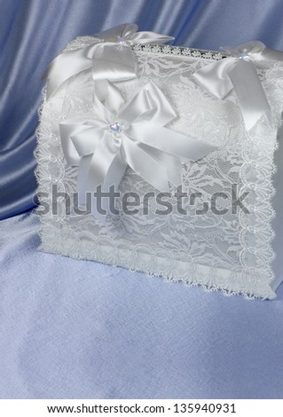 wedding accessories on violet background - stock photo