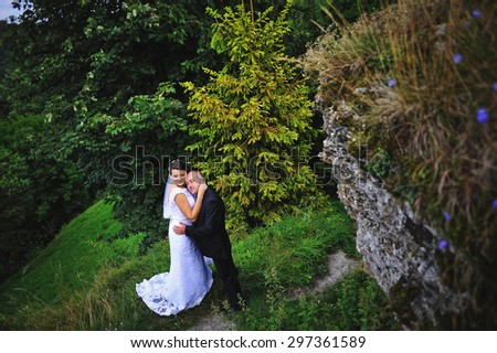 Wedding  adult couple at the scenic landscape