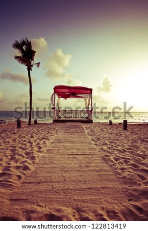 Wedding altar on a tropical beach