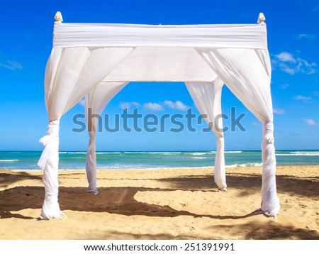 Wedding altar on caribbean beach in Dominican Republic - stock photo