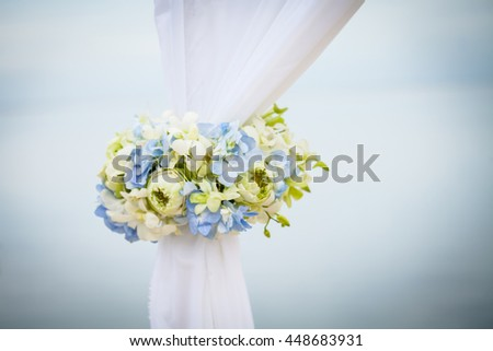 wedding arch on the beach at the south of Thailand. - stock photo