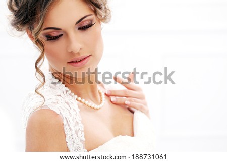 Wedding. Attractive bride with beautiful face - stock photo