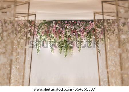 Wedding backdrop flower wedding decoration stock photo edit now wedding backdrop with flower and wedding decoration junglespirit Image collections