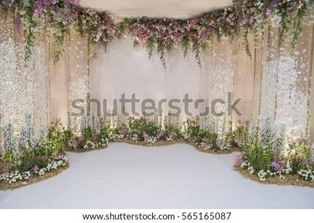 Wedding backdrop flower wedding decoration stock photo royalty free wedding backdrop flower wedding decoration stock photo royalty free 565165087 shutterstock junglespirit Image collections