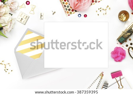 Wedding background. Mock-up for your photo or text Place your work. Woman desktop, template card, Peonies and gold stationery. Gold Polka. Header website or Hero website - stock photo