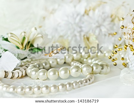 Wedding background with Pearl necklace - stock photo