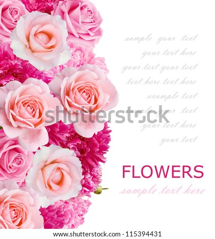 Wedding background with peonies and roses isolated on white with sample text