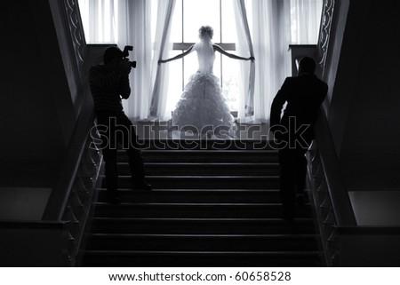 wedding backstage - stock photo