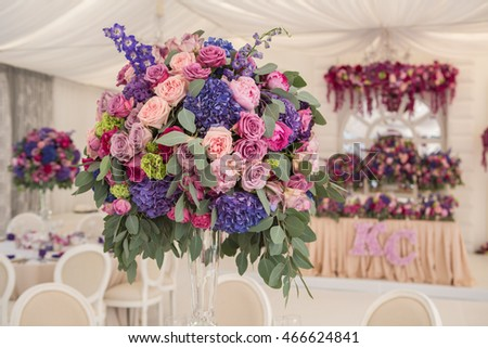 wedding banquet decoration in marquee with roses